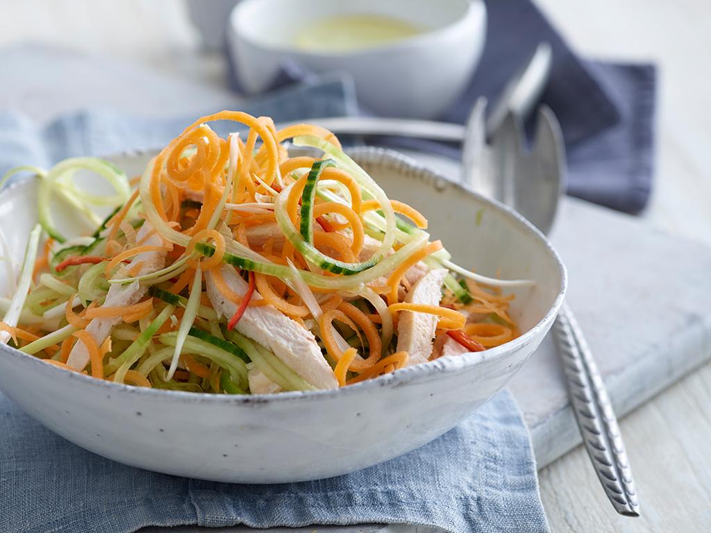 Cucumber Carrot Amp Chicken Salad With Oriental Dressing Annabel Karmel