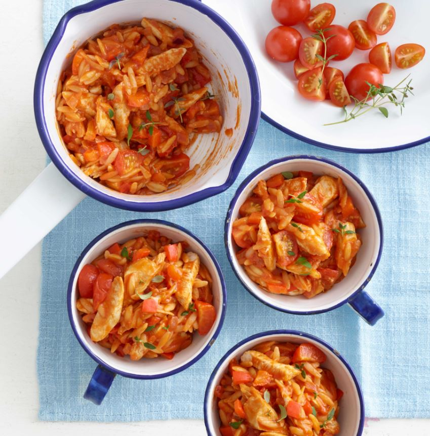Top 10 meals to make for picky eaters - Chicken with tomatoes and orzo Recipe by Annabel Karmel