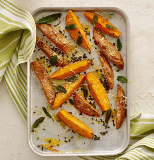 Parmesan Roasted Sweet Potato Wedges Recipe by Annabel Karmel