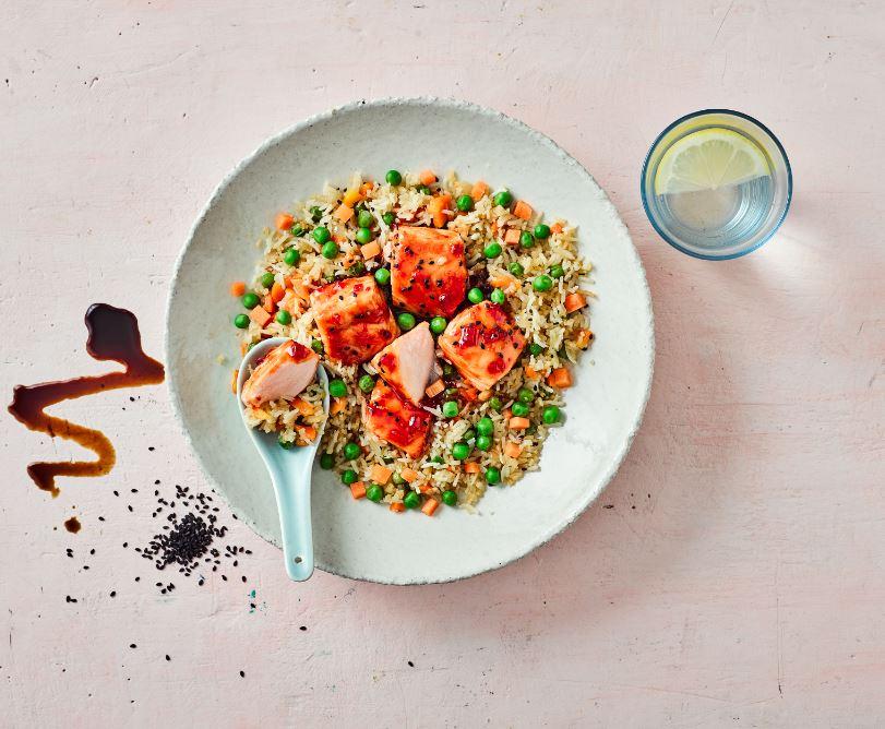 glazed salmon and Chinese rice recipe Annabel Karmel
