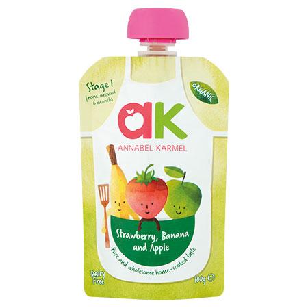 Organic Strawberry, Banana & Apple Puree annabel Karmel