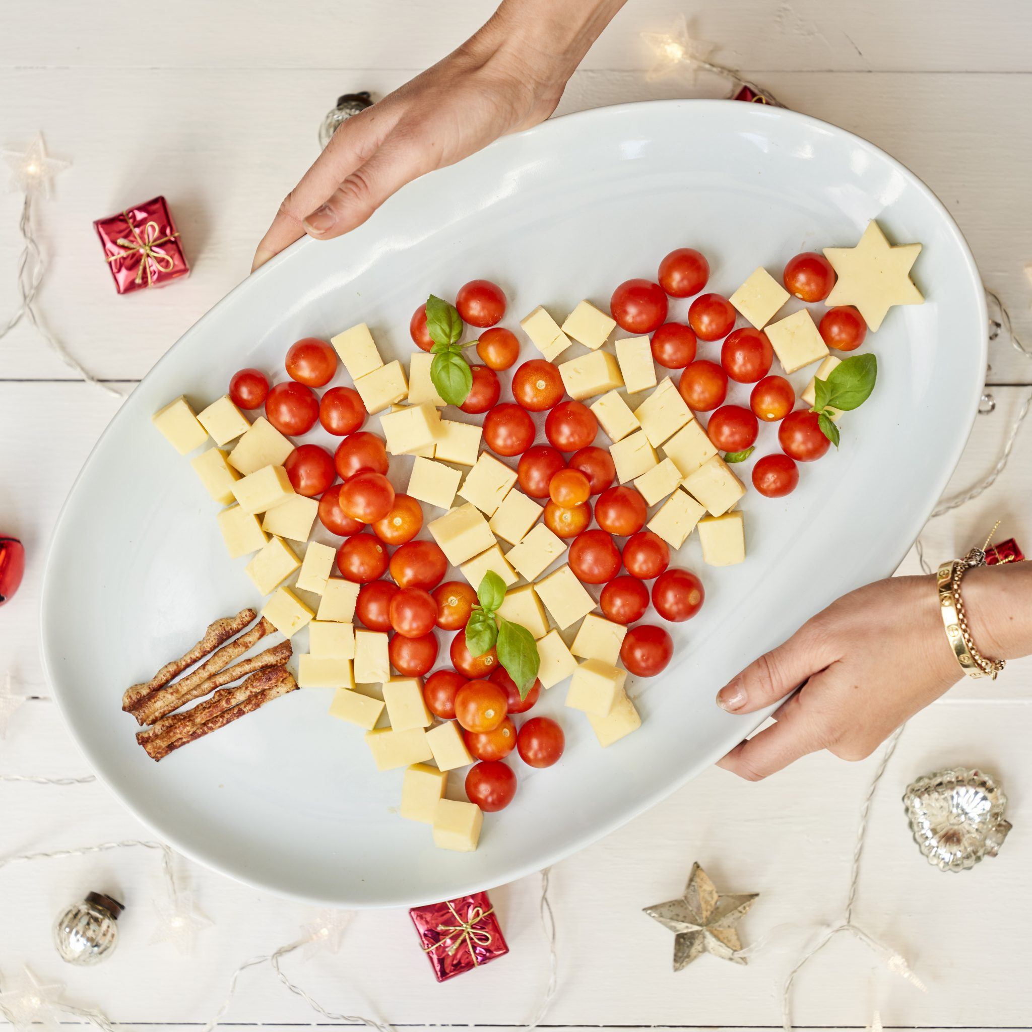 Cheese and Cherry Tomato Christmas Tree recipe by Annabel Karmel
