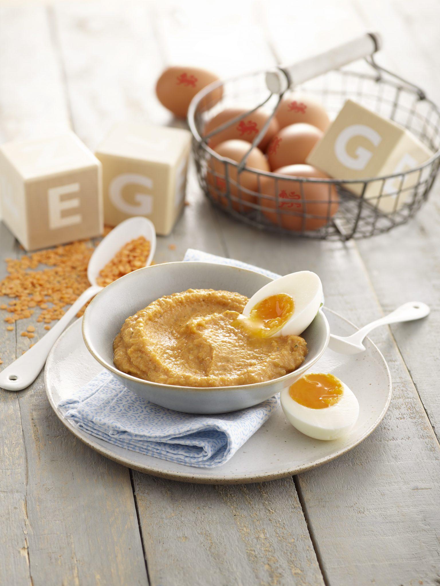 lovely lentil and egg puree image annabel karmel
