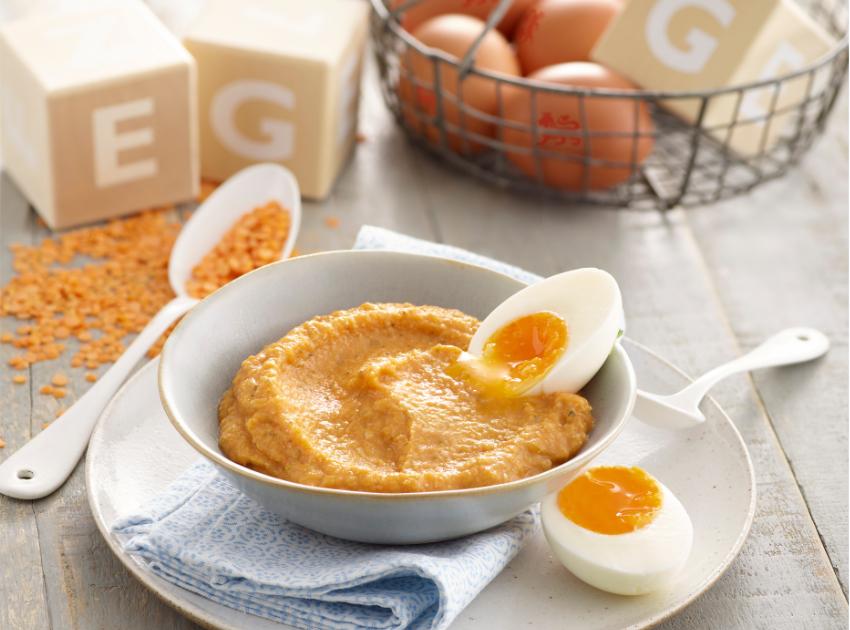 Lovely lentil egg - puree recipe by Annabel Karmel
