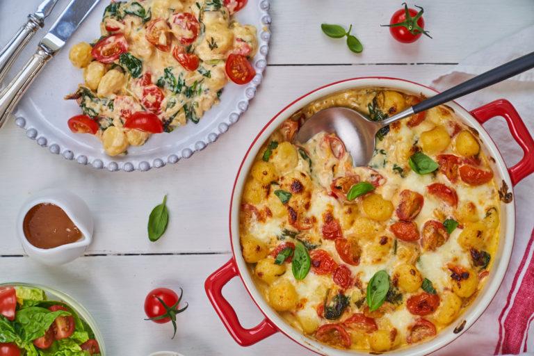 Cherry Tomato & Spinach Gnocchi Bake recipe by Annabel Karmel