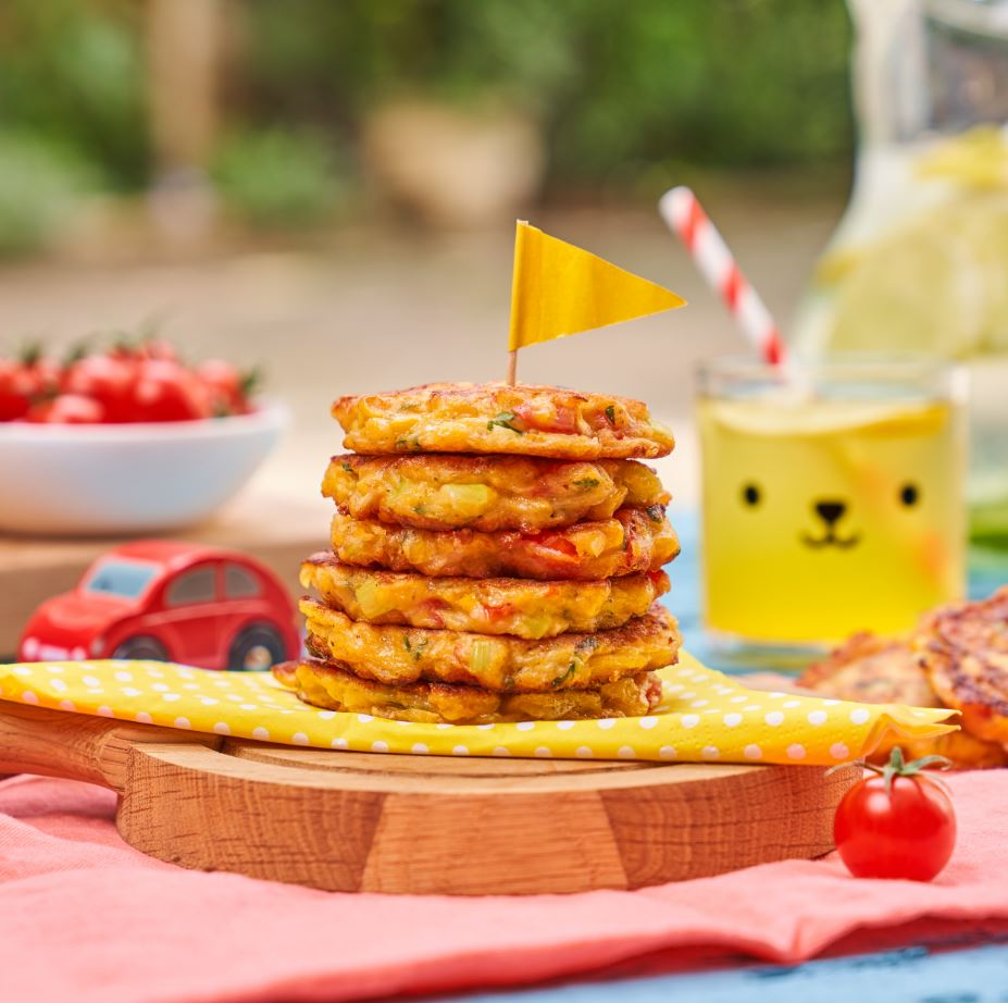 Top 10 meals to make for picky eaters - Sweetcorn and tomato rainbow fritters Recipe by Annabel Karmel