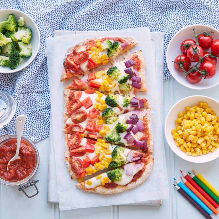 Top 10 meals to make for picky eaters - Rainbow Pizza Recipe by Annabel Karmel