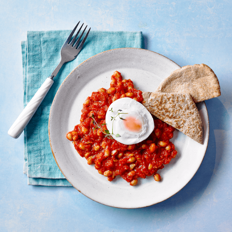 Baked Bean & Poached Egg Pittas recipe by Annabel Karmel