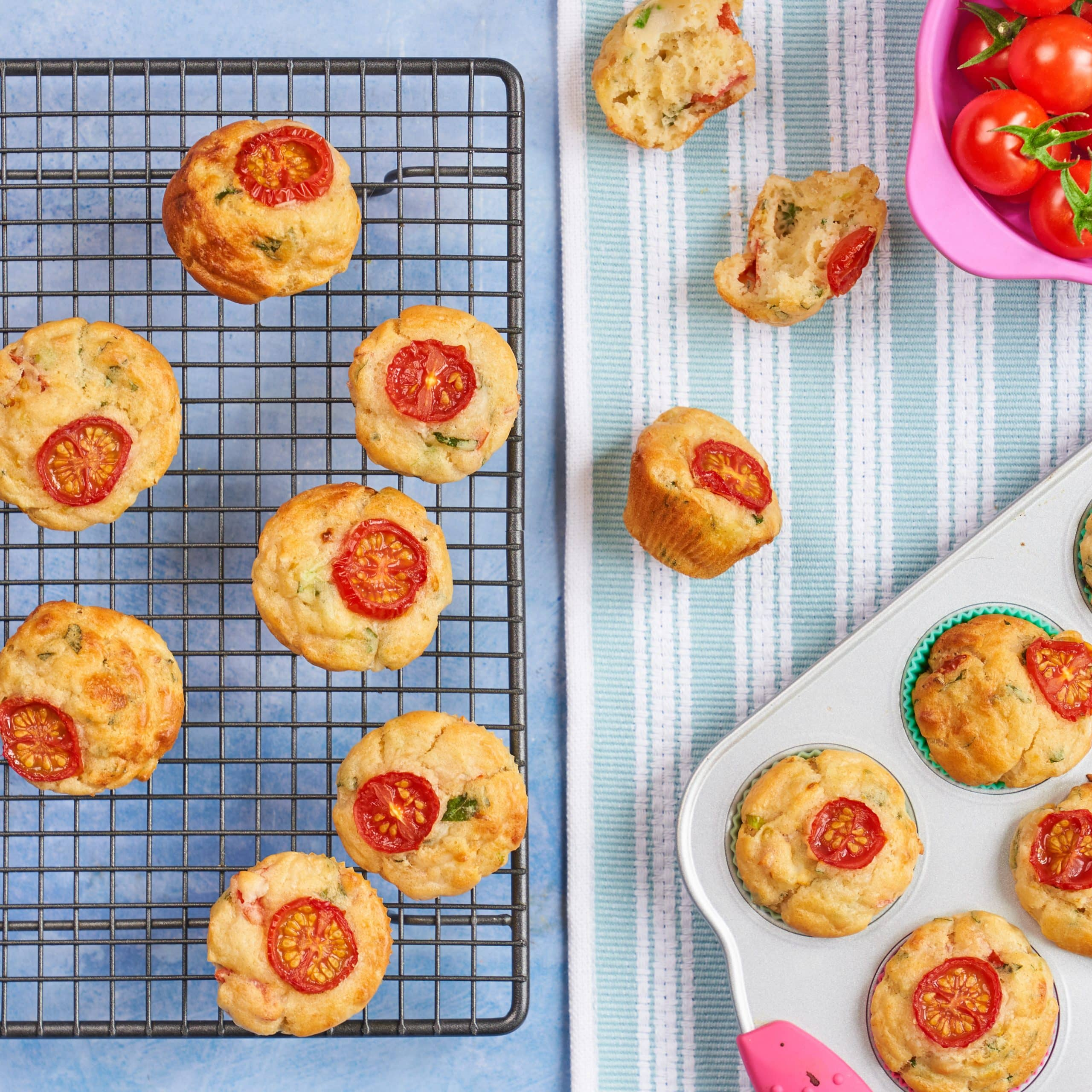 Mini Cheese & Cherry Tomato Muffins recipe by Annabel Karmel