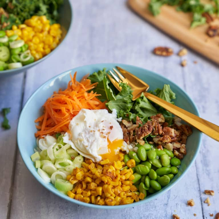 Confetti Quinoa Salad with Poached Egg Recipe by Annabel Karmel