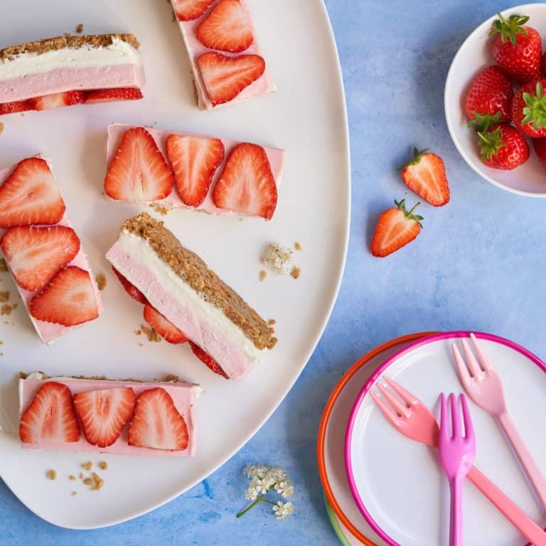 Strawberry Cheesecake Slices Recipe by Annabel Karmel