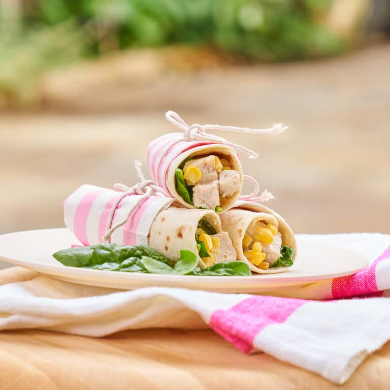 Chicken & Sweetcorn Wraps with Spinach Recipe by Annabel Karmel