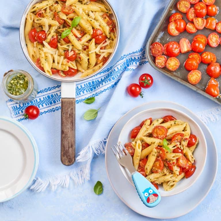 Roasted Piccolo Cherry Tomatoes & Pesto Pasta Recipe by Annabel Karmel
