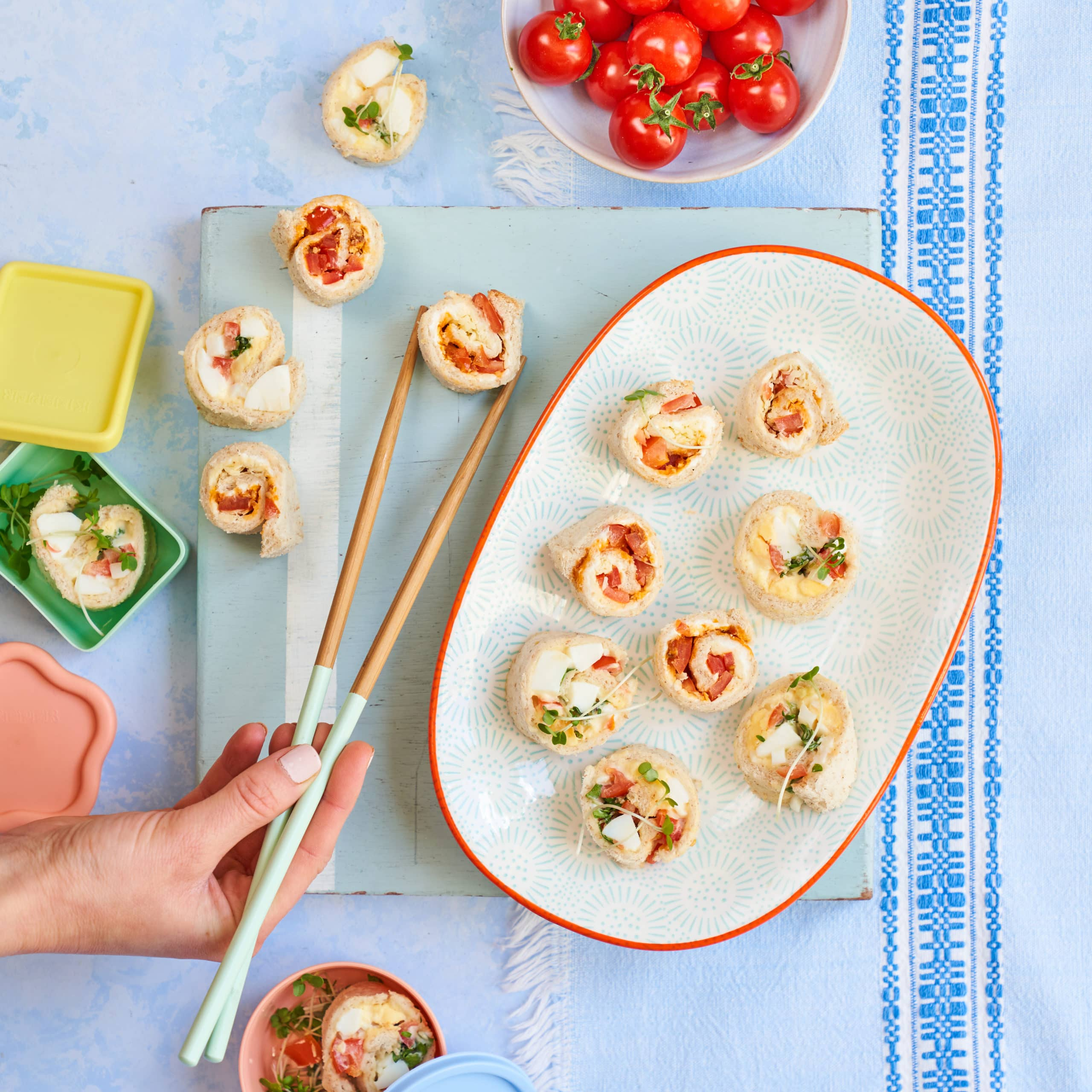 Piccolo Cherry Tomato Sushi Roll-ups recipe by Annabel Karmel