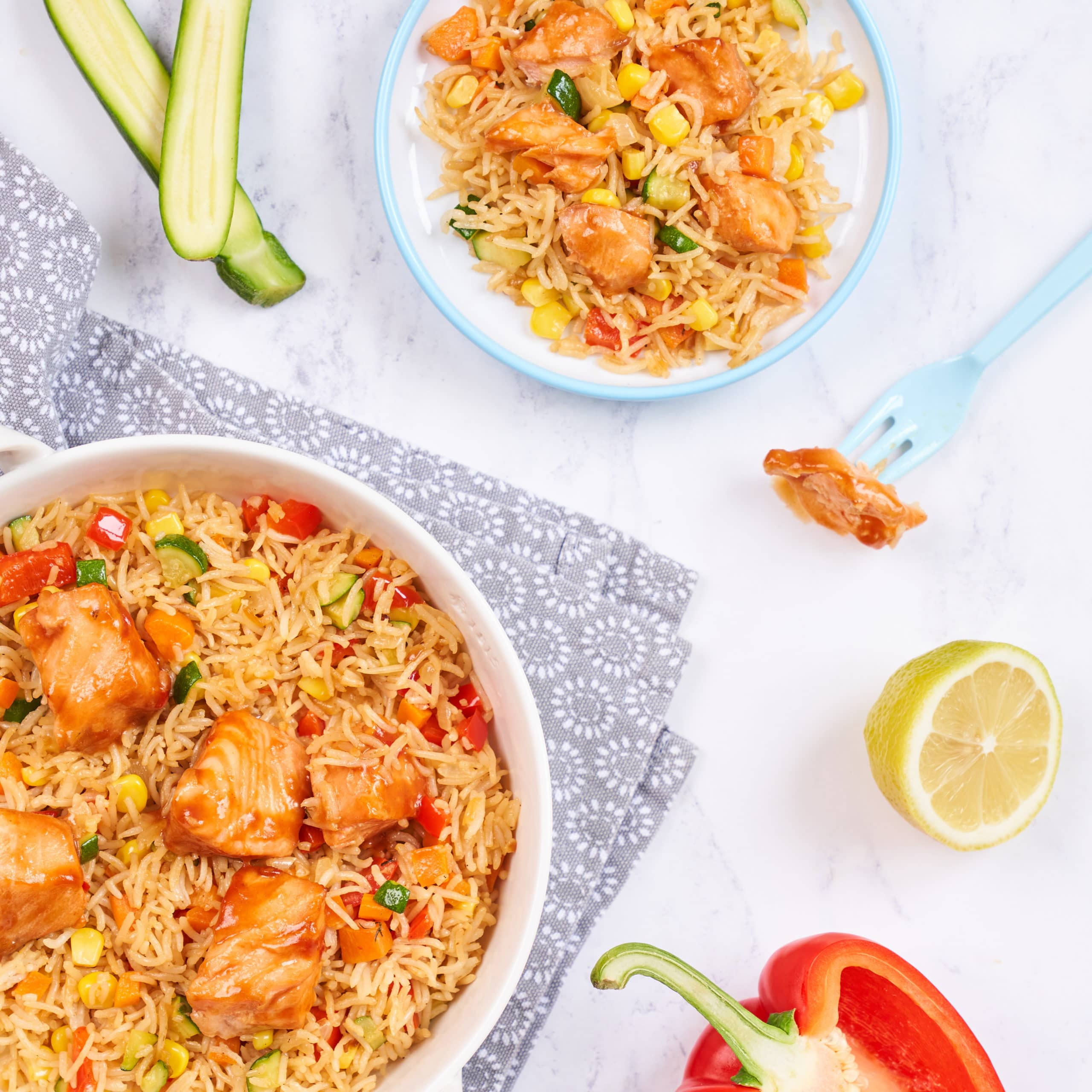 glazed salmon and chinese rice recipe by annabel karmel