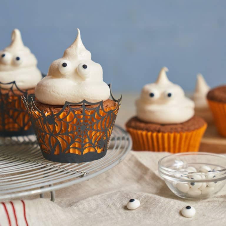 Chocolate Ghost Cupcakes recipe by Annabel Karmel