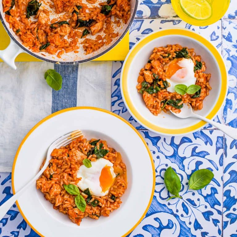 One Pan Eggs with Chicken & Rice recipe by Annabel Karmel