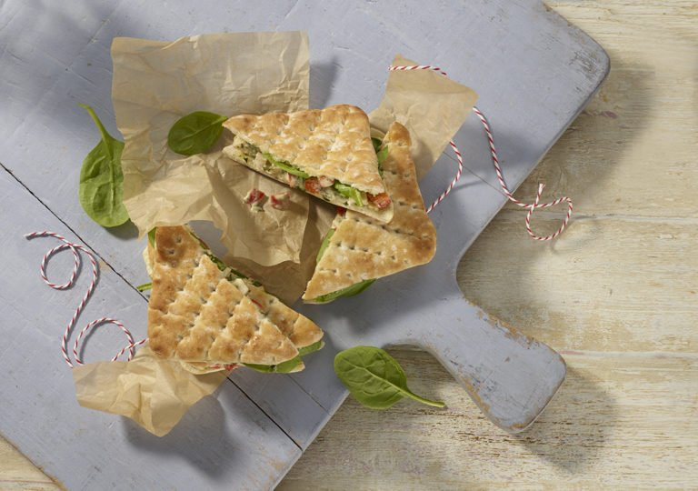 Chicken and Pesto with Red Pepper Thins recipe by Annabel Karmel
