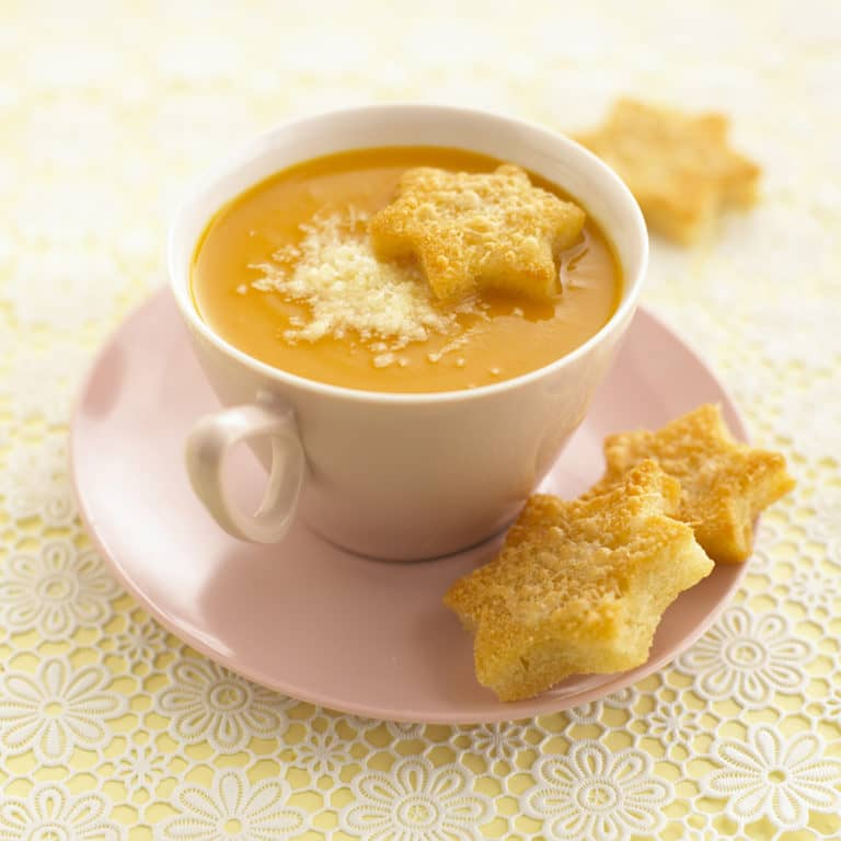 Pumpkin & Sweet Potato Soup with Cheesy Croutons recipe by Annabel Karmel