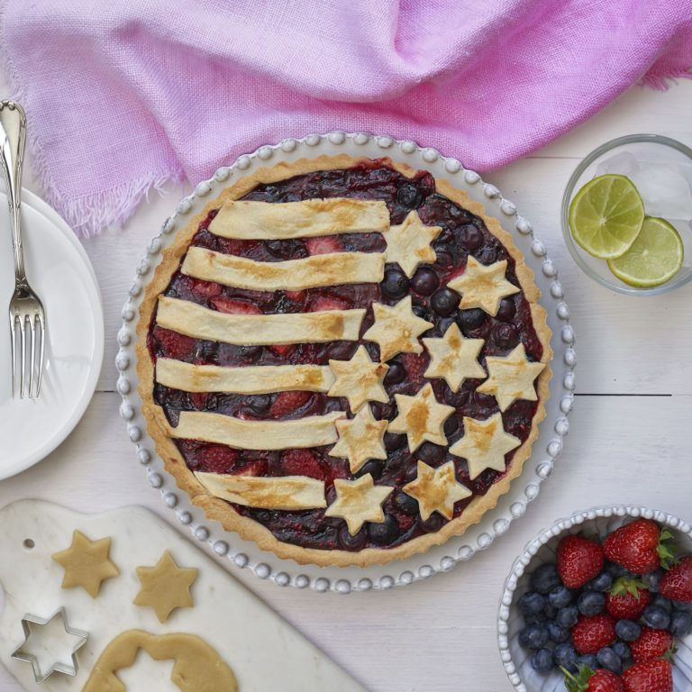 Stars and Stripes Mixed Berry Tart recipe by Annabel Karmel