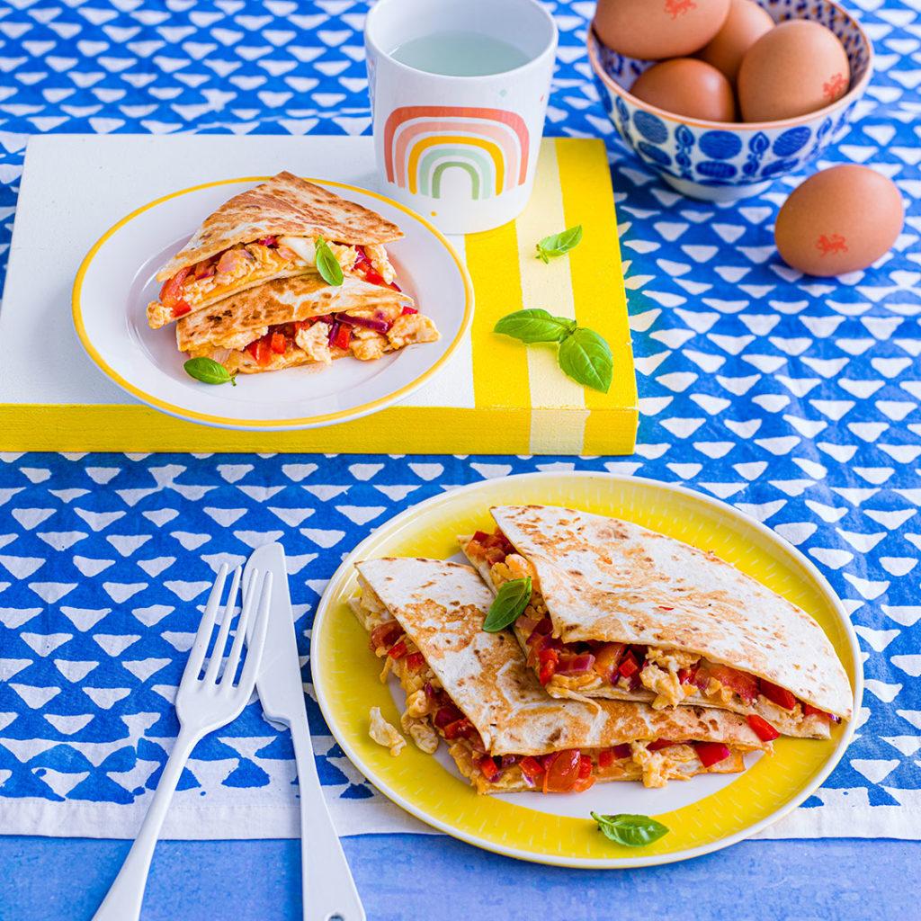 Super Fast Scrambled Egg Quesadillas recipe by Annabel Karmel