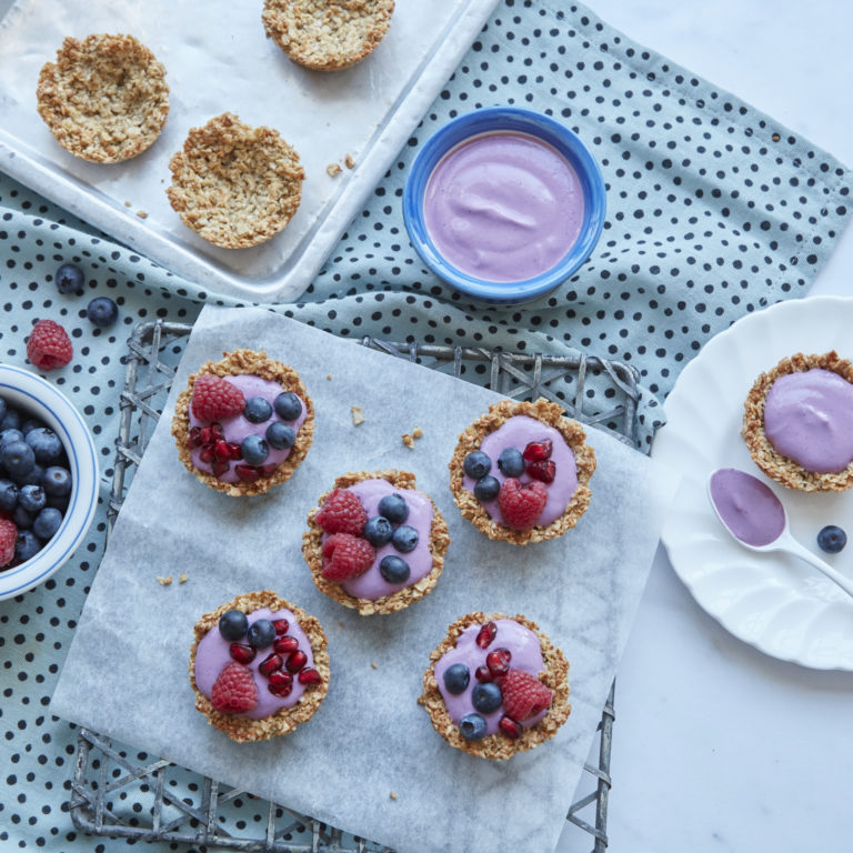 Baked Granola Cups with Blueberry Yoghurt recipe by Annabel Karmel
