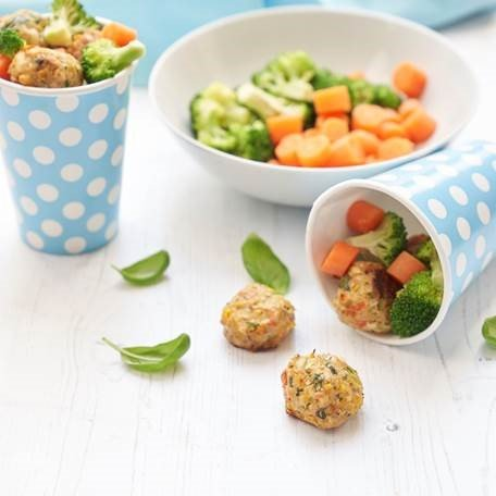 Chicken Balls with Sweetcorn, Sweet Pepper and Basil recipe by Annabel Karmel