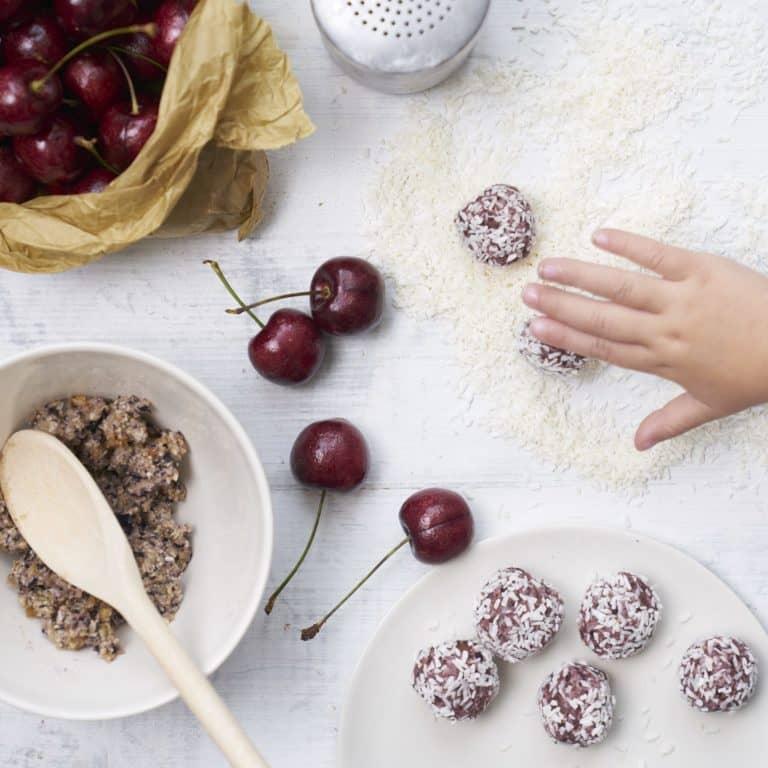 Cherry & Chia Seed Balls recipe by Annabel Karmel