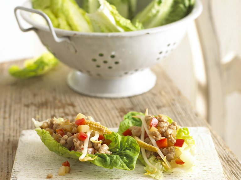 Chinese Style Pork in Lettuce Boats recipe by Annabel Karmel