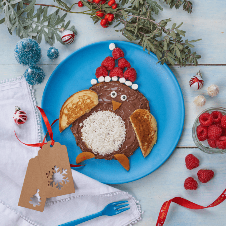 Christmas Penguin Pancake Recipe Image by Annabel Karmel