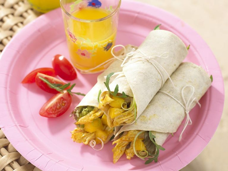Coronation Chicken & Mango Wrap recipe by Annabel Karmel