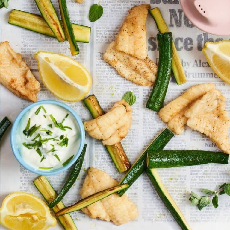 Goujons of Fish with Courgette Batons recipe by Annabel Karmel