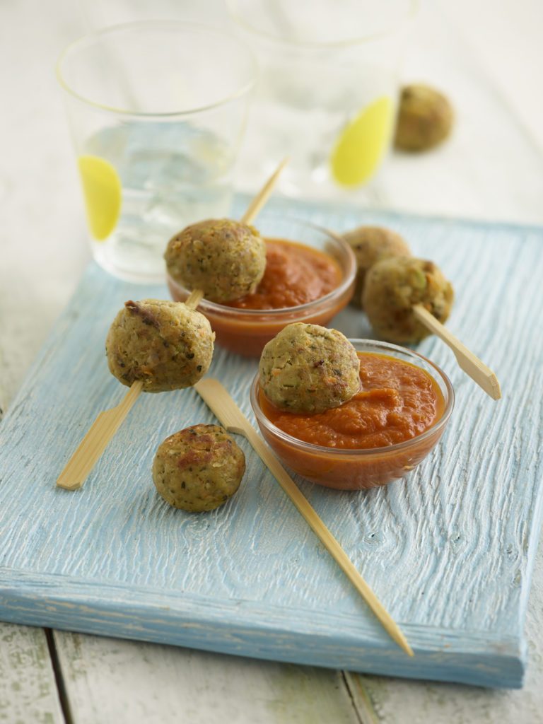 Chicken Balls with Pesto in a Tomato Sauce recipe by Annabel Karmel