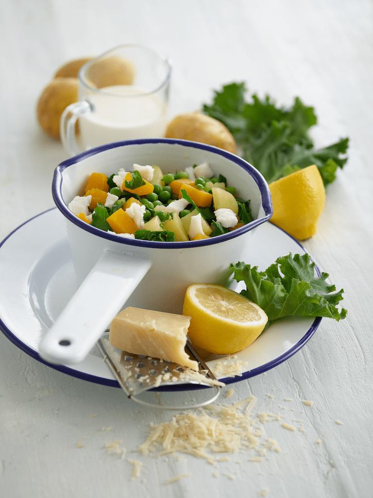 Sole with Squash, Kale & Peas recipe by Annabel Karmel