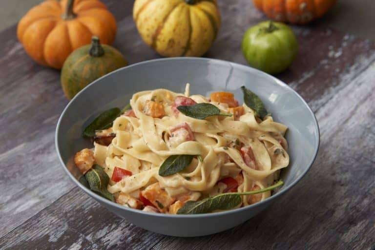 Tasty Tagliatelle with Roasted Pumpkin Recipe by Annabel Karmel