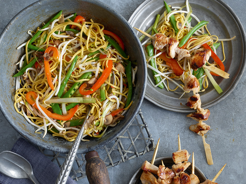 Mini Chicken Skewers with Noodle Stir Fry recipe by Annabel Karmel
