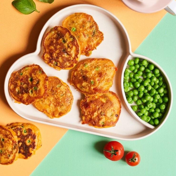 Pea, Corn & Tomato Fritters recipe by Annabel Karmel