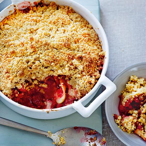 Peach, Raspberry & Apple Crumble recipe by Annabel Karmel
