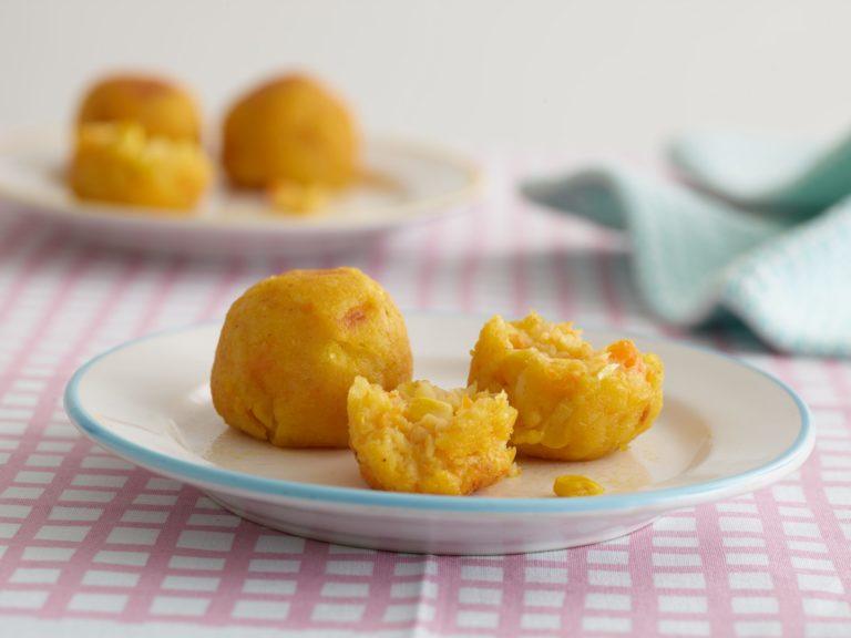 Potato, Carrot & Sweetcorn Balls recipe by Annabel Karmel