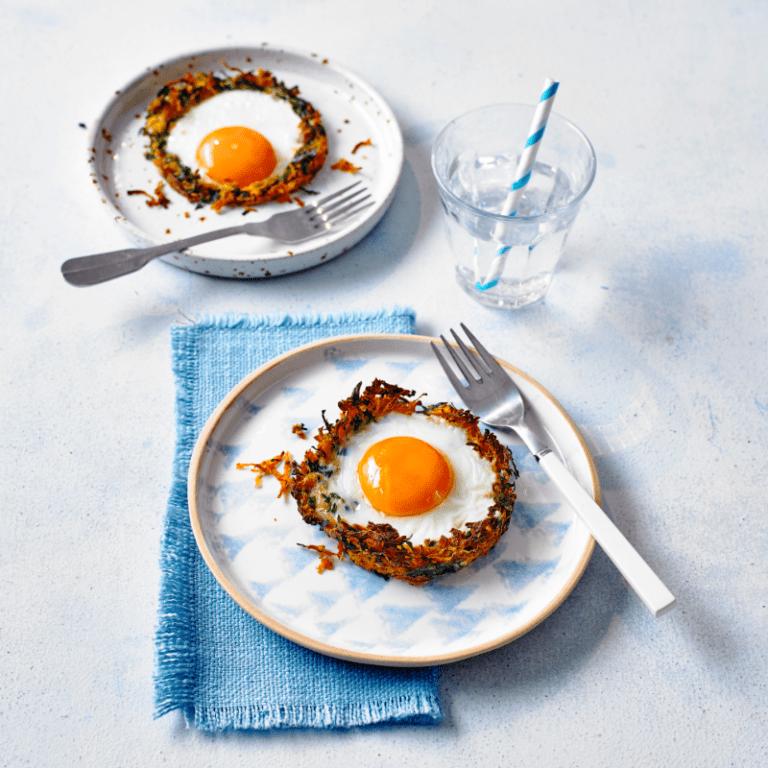 Sweet Potato & Spinach Nests recipe by Annabel Karmel