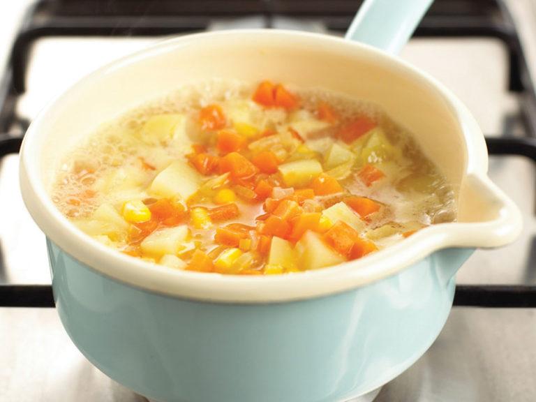 Salmon & Corn Chowder recipe by Annabel Karmel