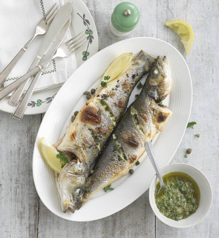 Sea bass with Salsa Verde recipe by Annabel Karmel