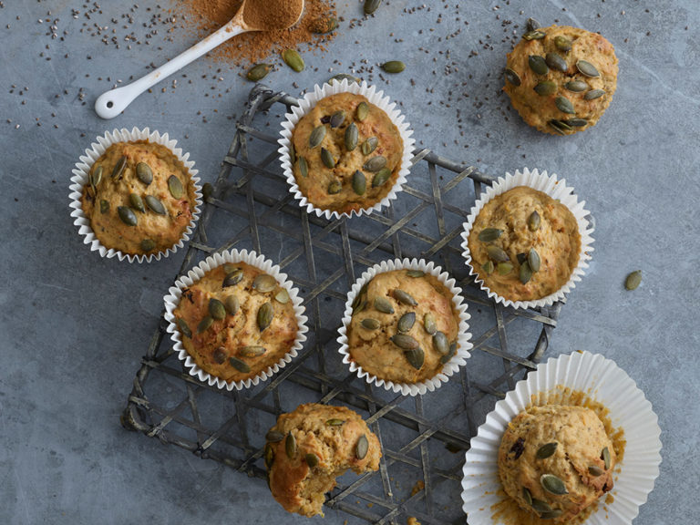 Spiced Courgette, Pumpkin Seed & Chia Seed Muffins recipe by Annabel Karmel