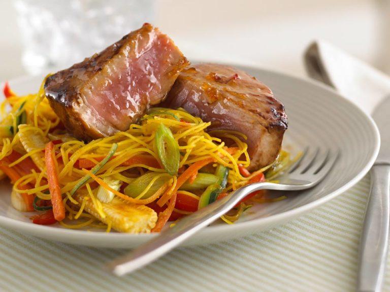 Sticky Tuna with Ribbon Noodles recipe by Annabel Karmel