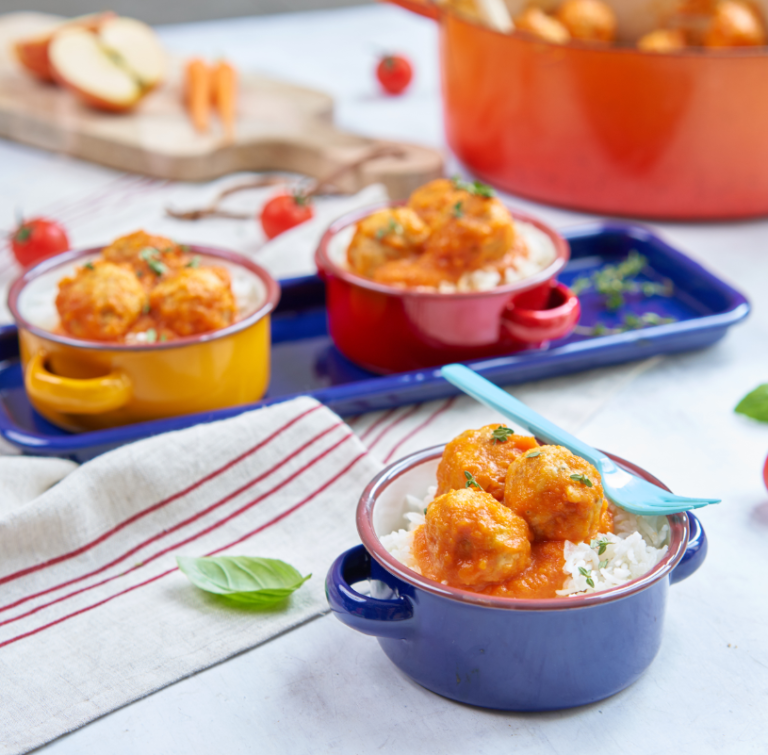 Chicken Balls with Tomato & Carrot Sauce recipe by Annabel Karmel
