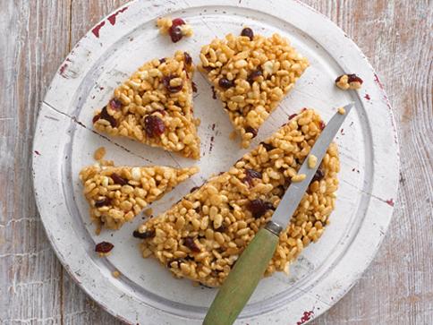 Cranberry & White Chocolate Krispie Slices recipe by Annabel Karmel