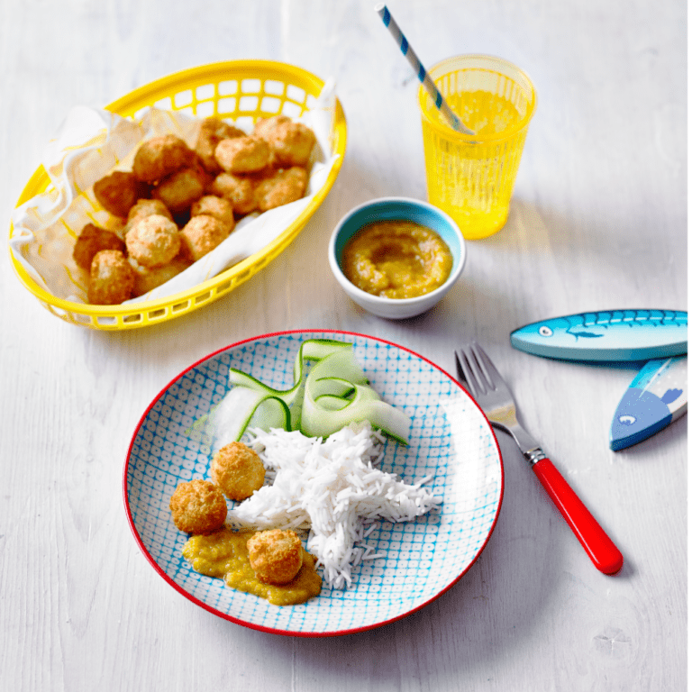 Popcorn Scampi with Fruity Curry Dipping Sauce Recipe by Annabel Karmel