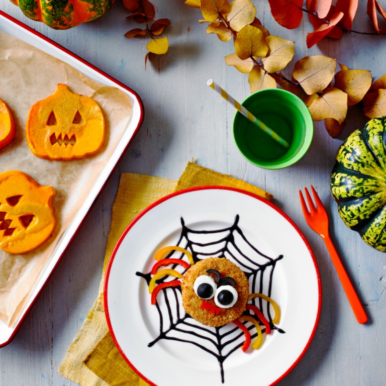 Spooky Spider Fishcakes with Scary Sweet Potato Faces Recipe by Annabel Karmel
