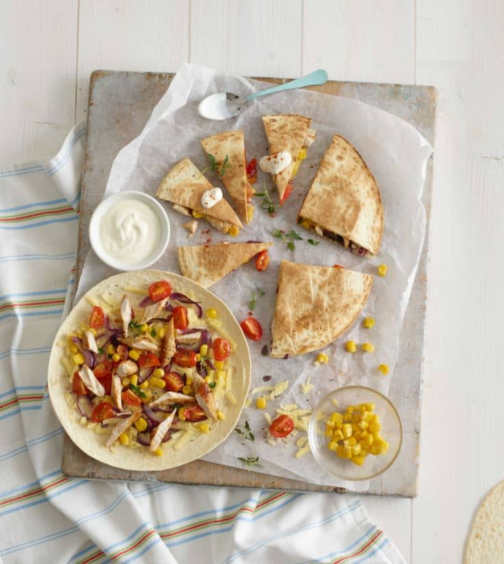 Chicken Quesadilla with Tomatoes & Sweetcorn recipe by Annabel Karmel