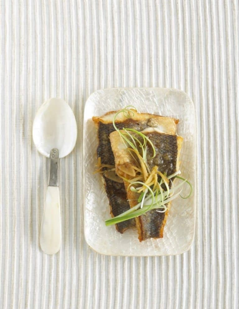 Sea bass with Ginger & Spring Onion recipe by Annabel Karmel